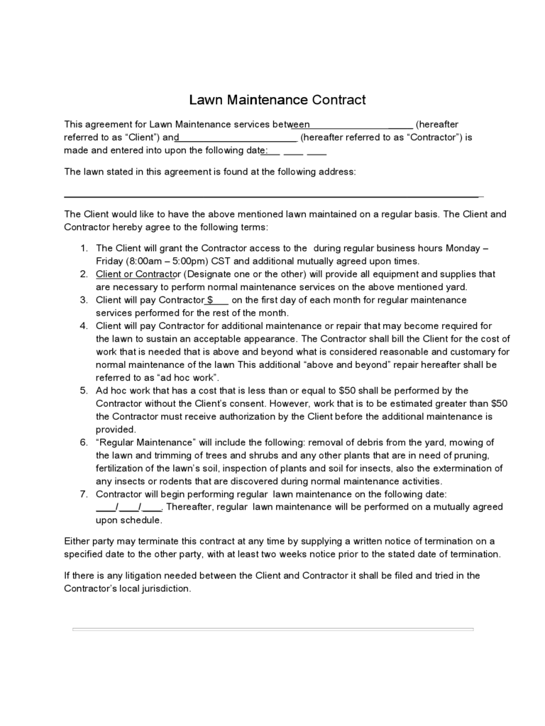 Charming Lawn Service Contract Sample