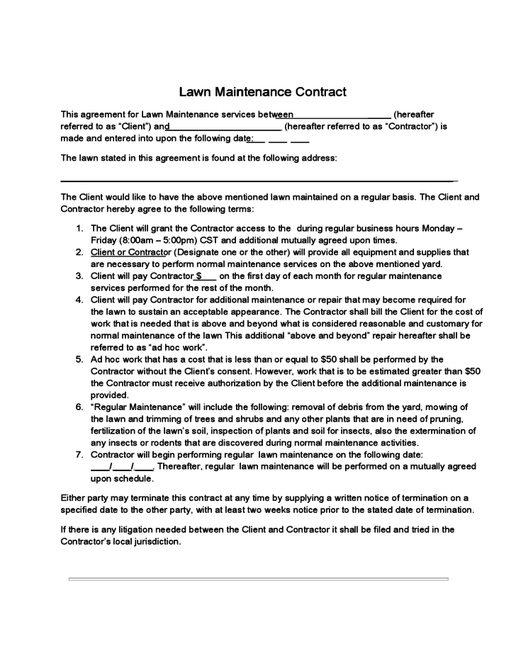 Lawn maintenance contract free download for Garden maintenance contract template