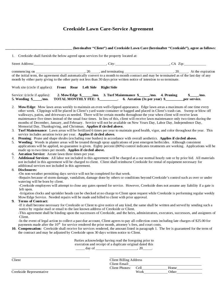 Lawn Care Contract Template - 2 Free Templates in PDF, Word, Excel ...