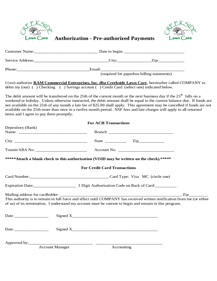 monthly service contract template - creekside lawn care service agreement free download