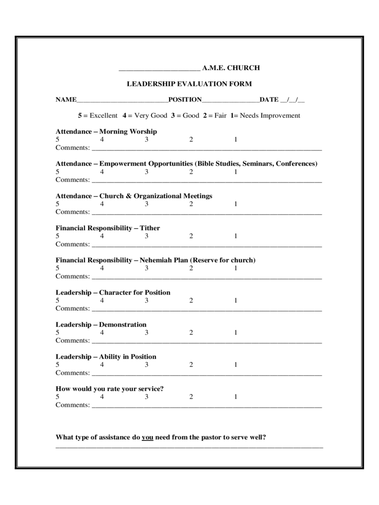 Leadership Evaluation Form on Printable Template Calendar With Time