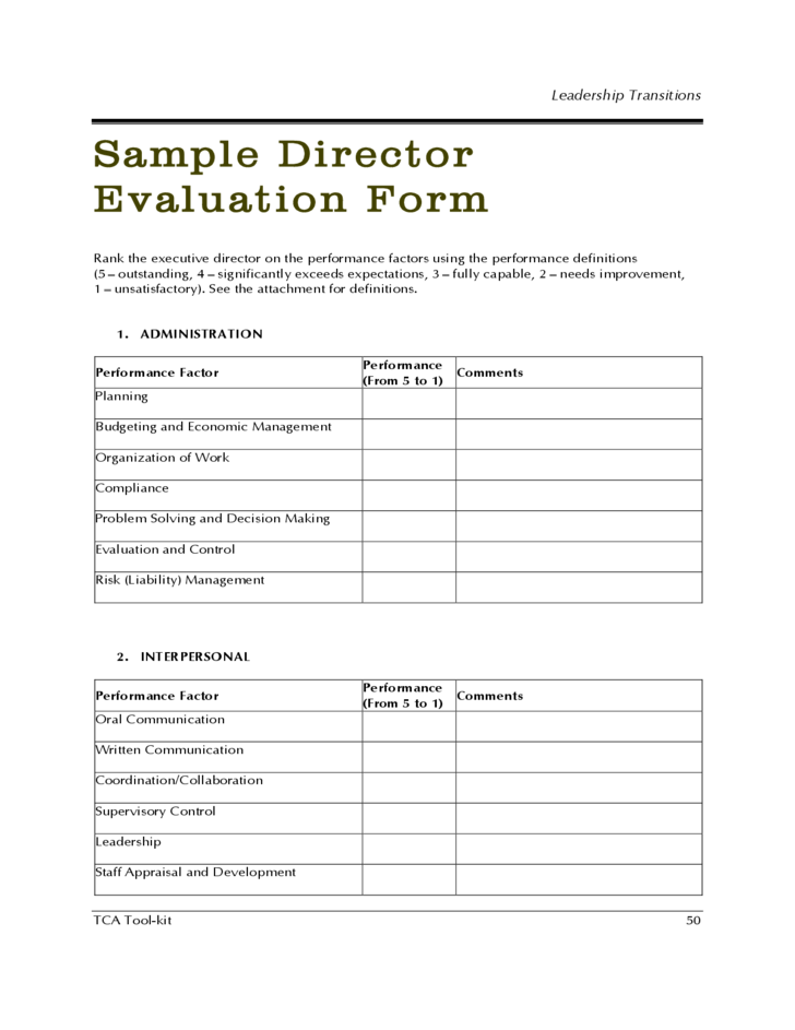 leadership evaluation form templates - sample director evaluation form free download