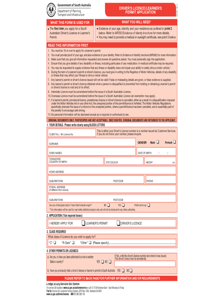 Learning Driving Licence Form - South Australia Free Download