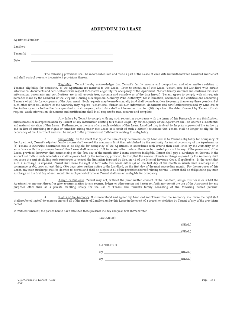 Addendum to Lease Form