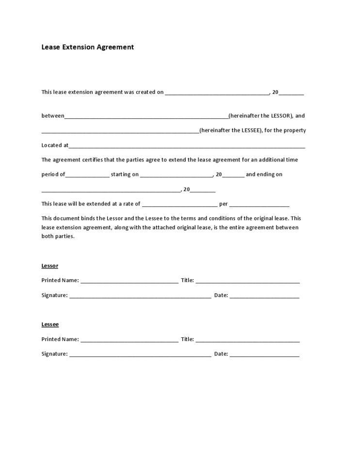 Lease Extension Agreement Form Free Download