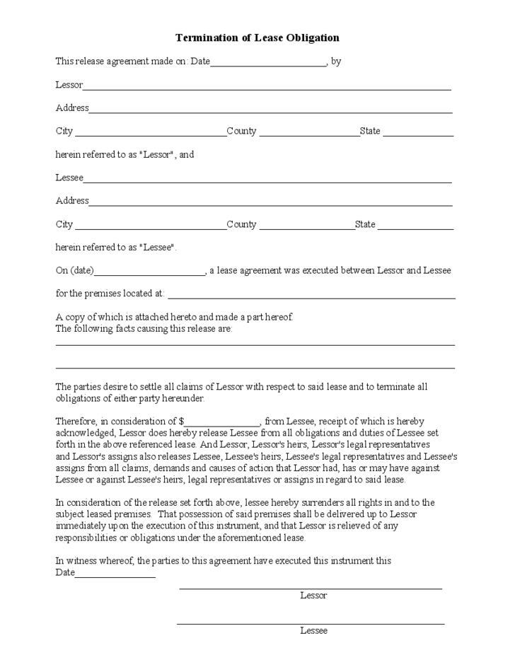 lease termination agreement sample