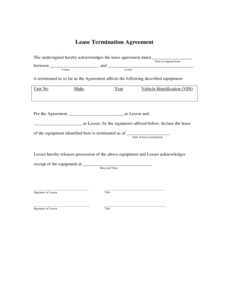 Lease Termination Form 4 Free Templates in PDF Word Excel Download – Lease Termination Form
