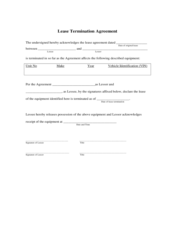 Lease Termination Agreement Free Download