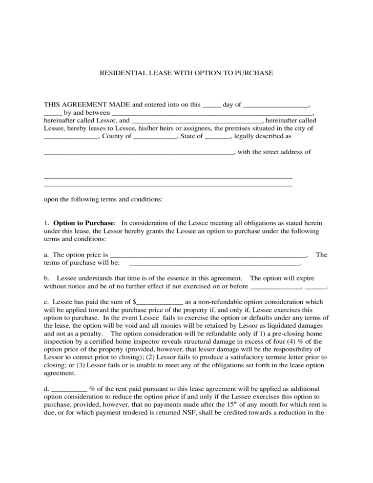 Residential Lease with Option to Purchase Form Free Download