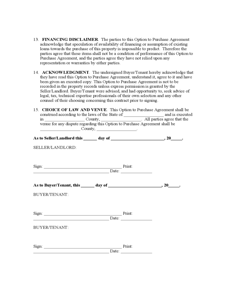 Lease To Purchase Option Agreement Free Download