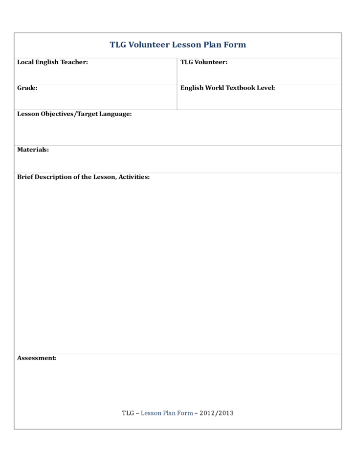 TLG Volunteer Lesson Plan Form