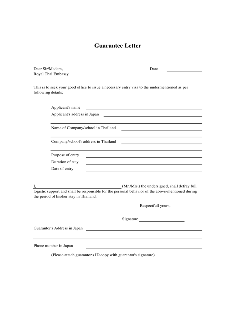 Letter Of Guarantee 2 Free Templates In Pdf Word Excel