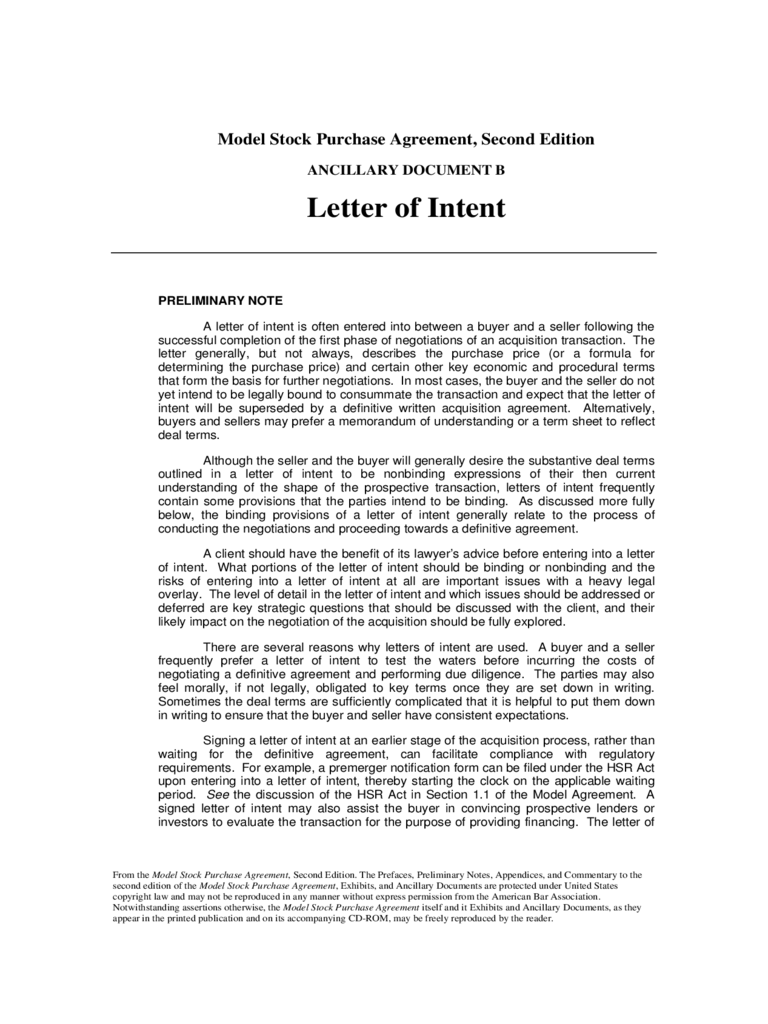 Intent Letter Template  Letter Of Intent To Purchase Business Template Free