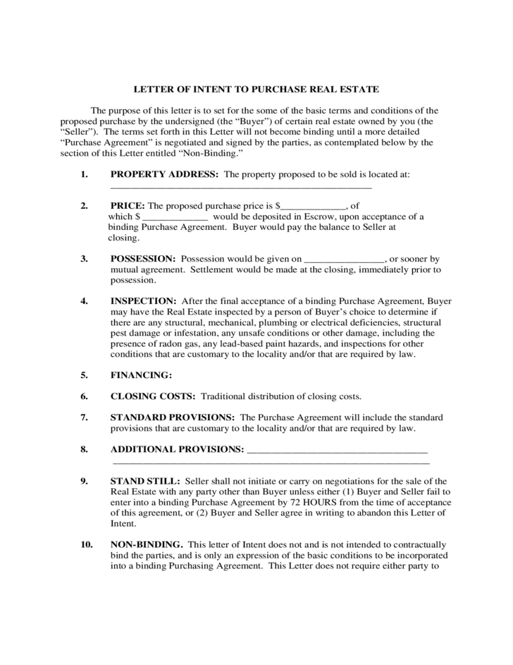 1 Letter Of Intent To Purchase Real Estate  Letter Of Intent To Buy A Business Template