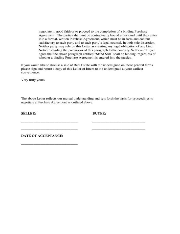 Free letter of intent to purchase agreement letter of for Letter of intent for real estate purchase template
