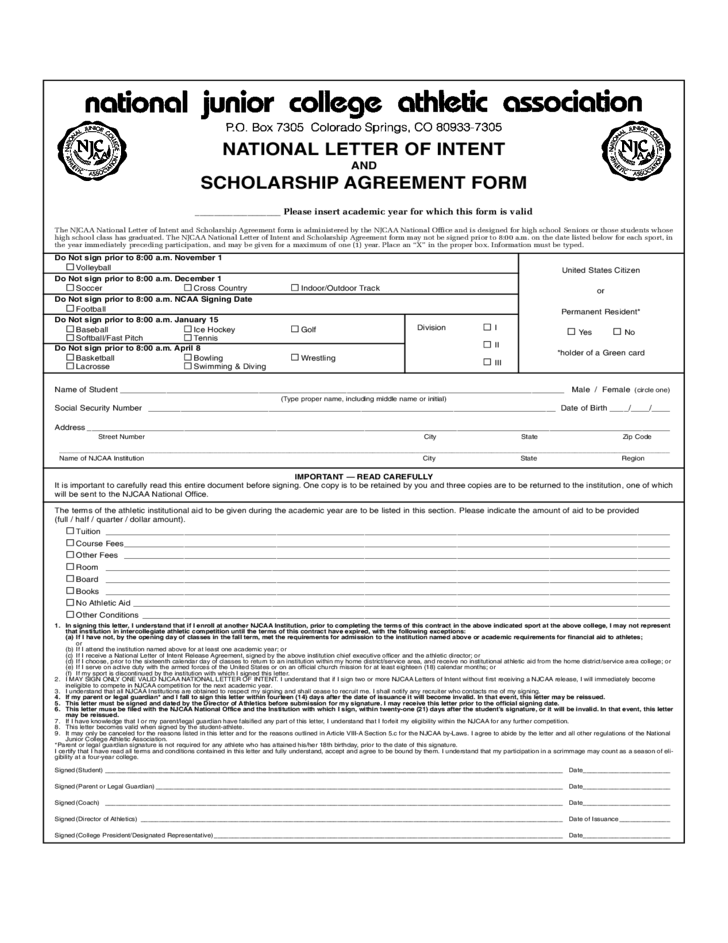 National letter of intent and scholarship agreement form for Football contract template