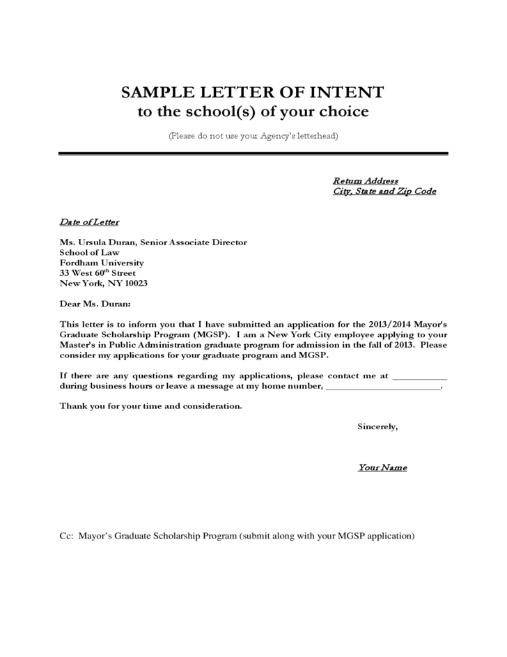 Sample Letter Of Intent Format Free Download