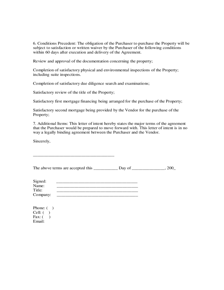 Letter of intent to purchase free download for Letter of intent to purchase property template