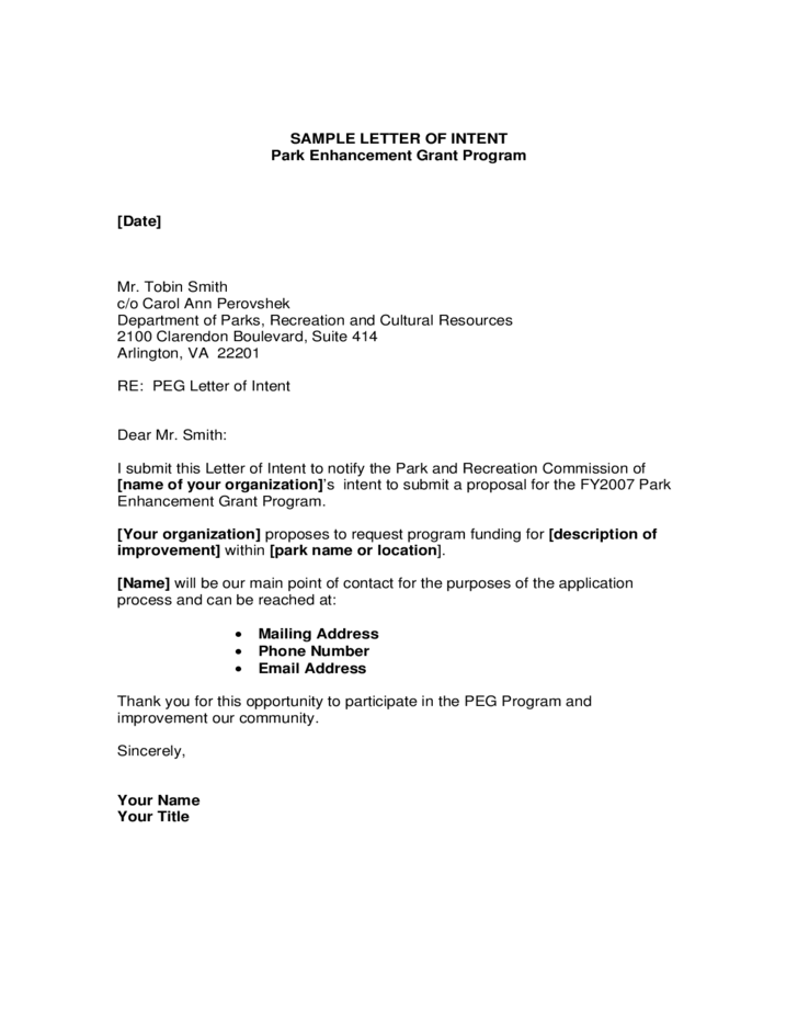 letter of intent template letter of intent format free 1404