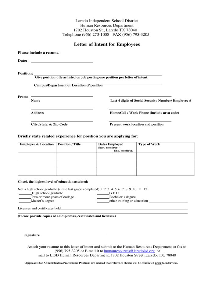 Letter of intent for employees free download for Letter of intent to hire template
