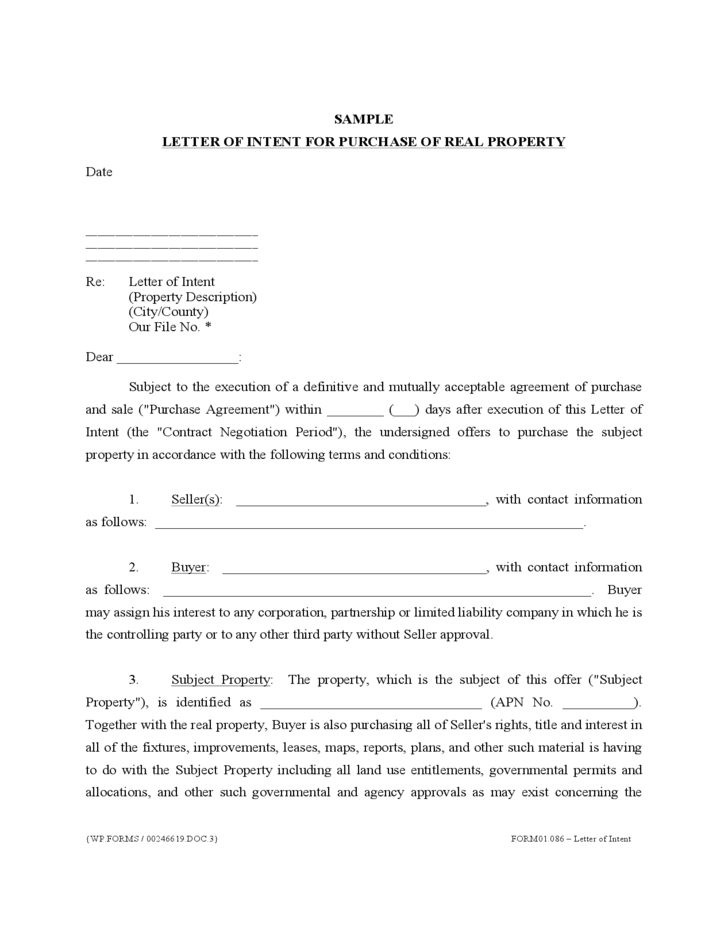Letter of Intent for Purchase of Real Property Free Download