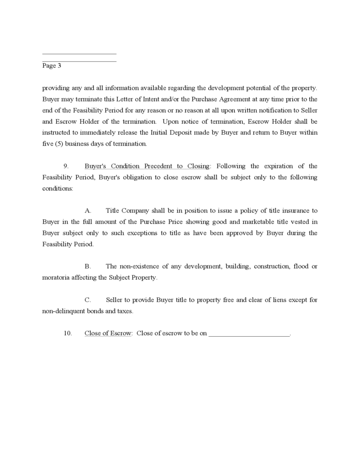 Letter Of Intent To Purchase Real Estate Form Real Estate Sample – Free Business Purchase Agreement