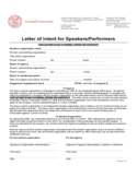 Letter of Intent for Speakers or Performers