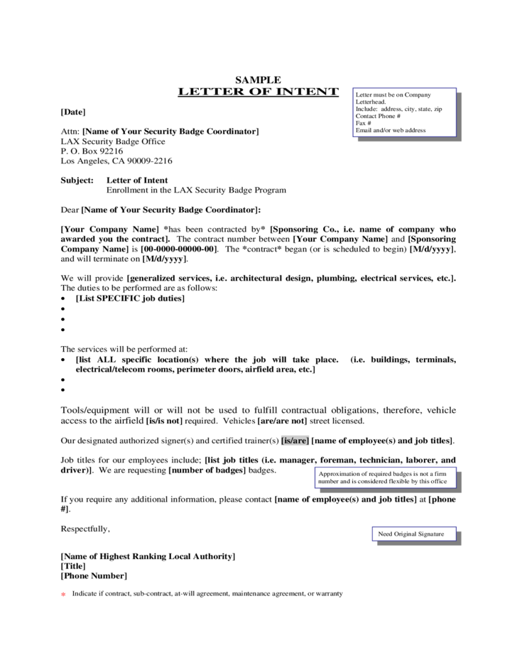 sample format for letter of intent free download