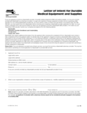Letter of Intent for Durable Medical Equipment and Suppliers Free Download