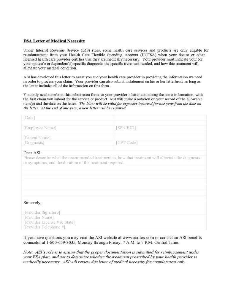FSA Letter of Medical Necessity Form