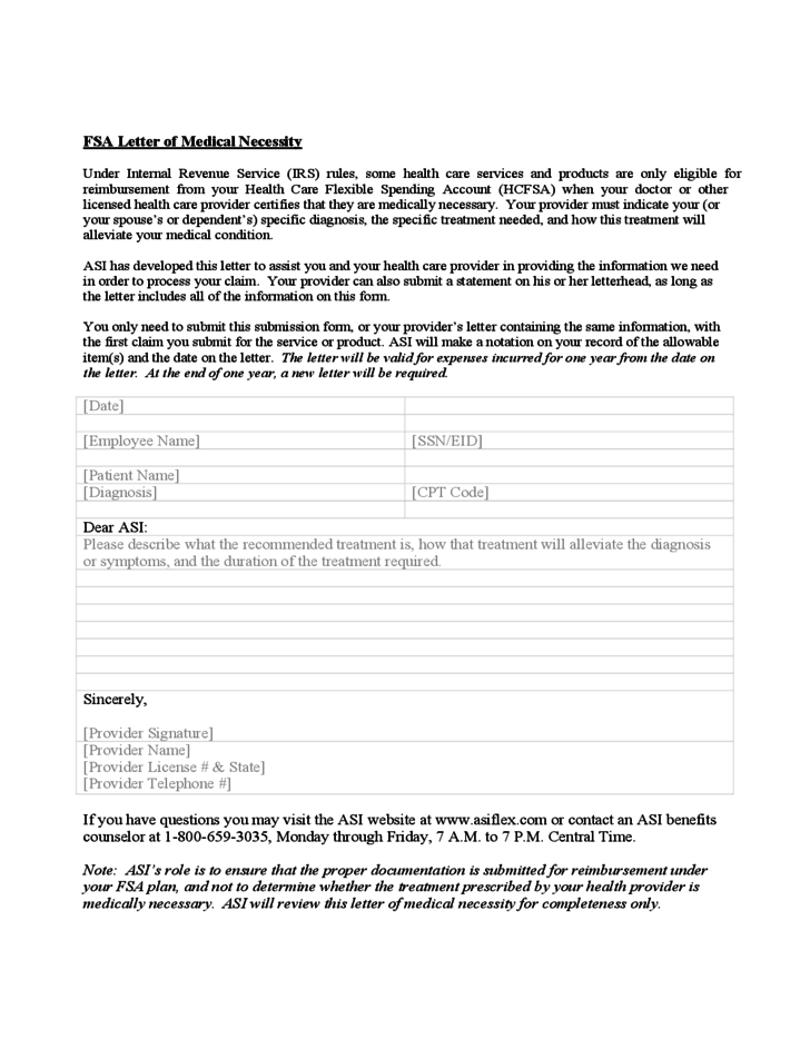 Letter of medical necessity form design templates amazing 1 fsa letter of medical necessity form spiritdancerdesigns Choice Image