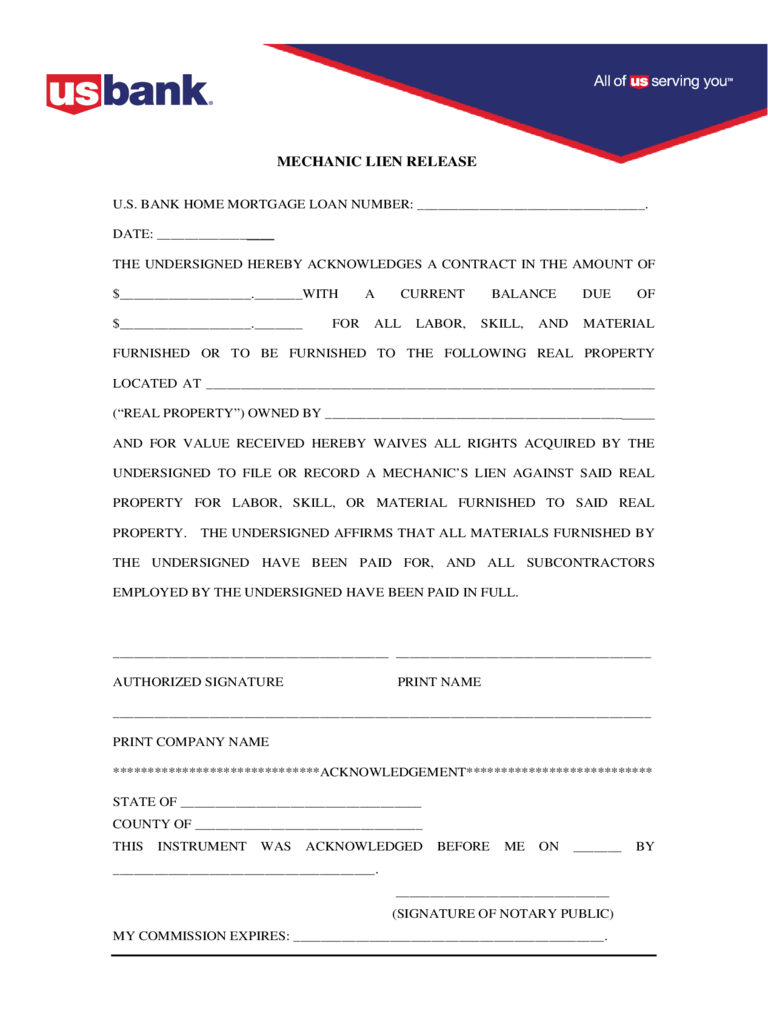 Mechanic Lien Release Form