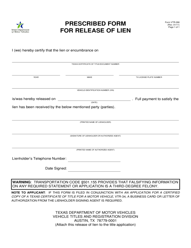 Form VTR 266   Prescribed Form For Release Of Lien   Texas Free .  Letter Of Release Form