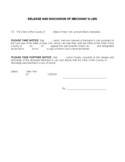 Release and Discharge Mechanics' Lien Form Free Download