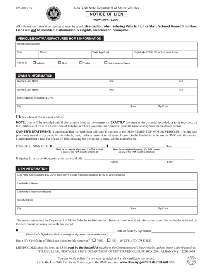 MV-900 - Notice of Lien Form - New York Free Download