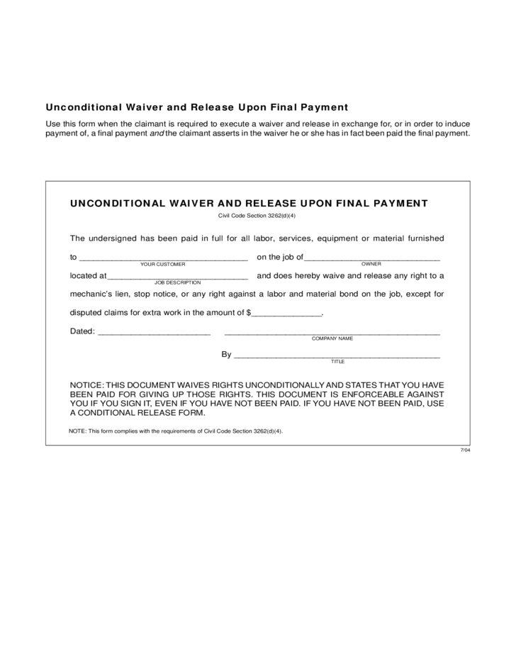 Conditional and unconditional waiver and release forms for Final lien waiver template