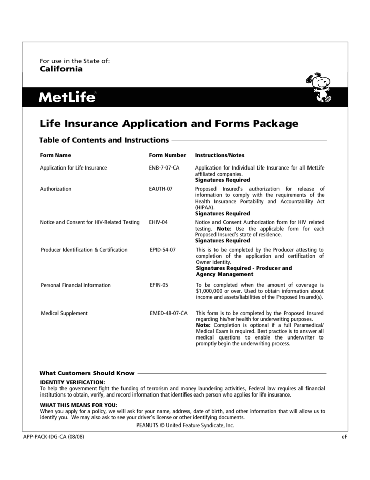 Metlife Life Insurance >> Life Insurance Application Form - California Free Download