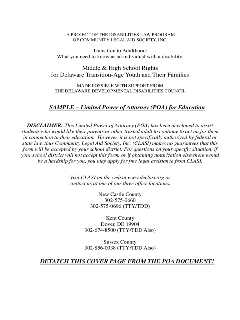Limited Power of Attorney for Education - Delaware