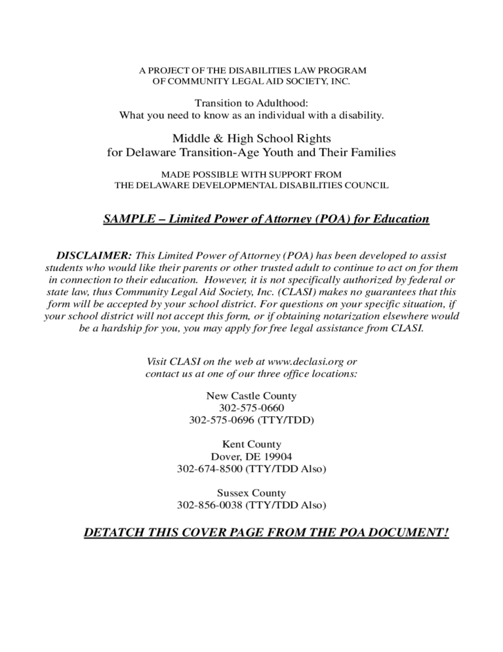 Sample Limited Power Of Attorney Form | Limited Power Of Attorney For Education Delaware Free Download