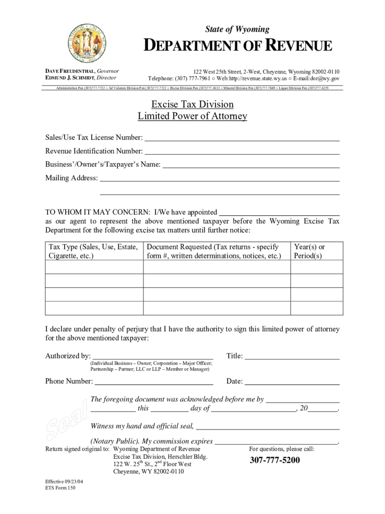 Limited Power of Attorney Example - Wyoming