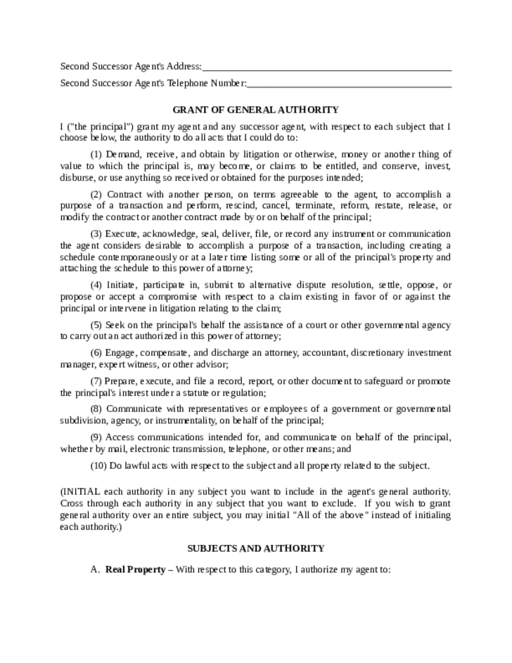 Statutory Form Limited Power of Attorney - Maryland