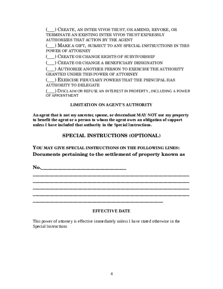 Statutory Form Limited Power of Attorney Template - Maryland