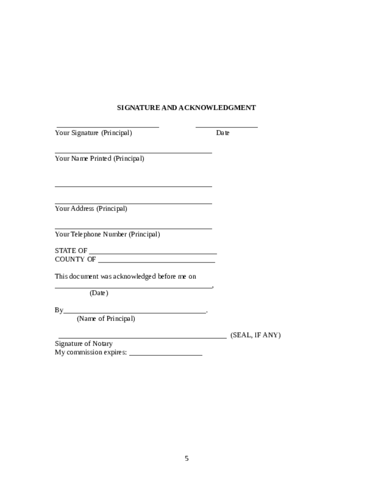 State Of Maryland Power Of Attorney Form Image Collections Free