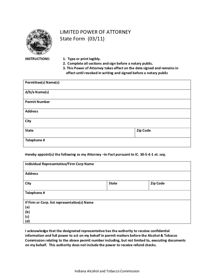 Limited Power Of Attorney State Form Indiana Free Download