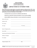 Limited Power of Attorney Form - Maine
