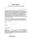 Limited Power of Attorney and Release Form - Maine