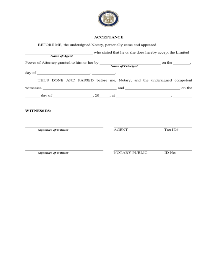 Limited Power Of Attorney Form Louisiana Free Download