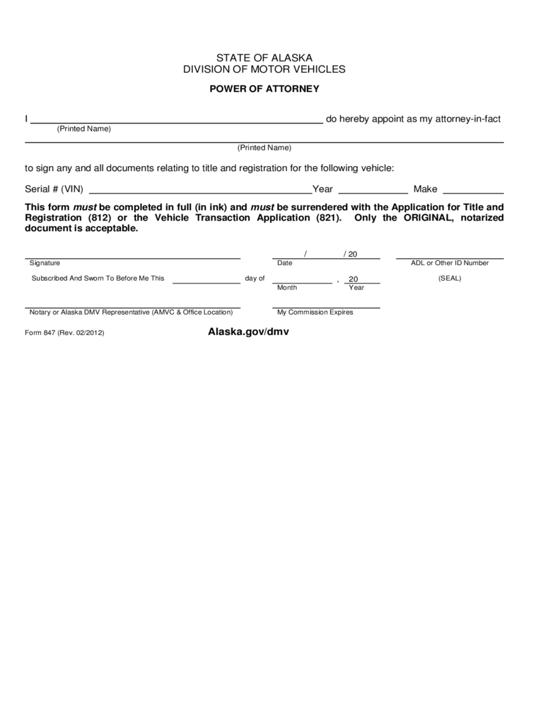 Power of Attorney Form - Alaska Division of Motor Vehicles