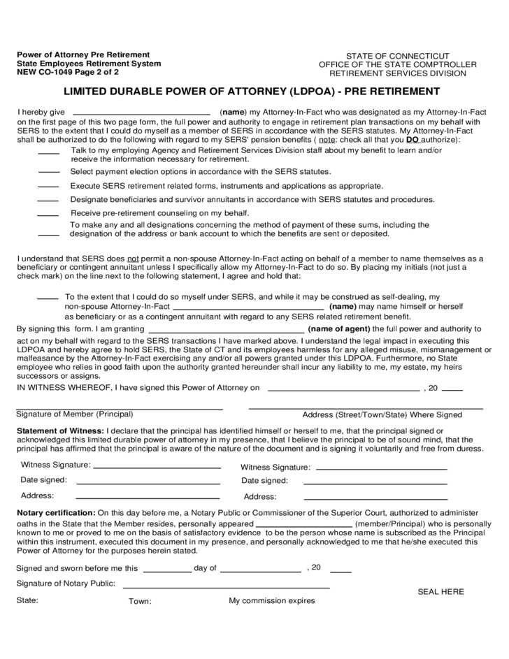 power of attorney form ct  Limited Durable Power of Attorney Form - Connecticut Free ...