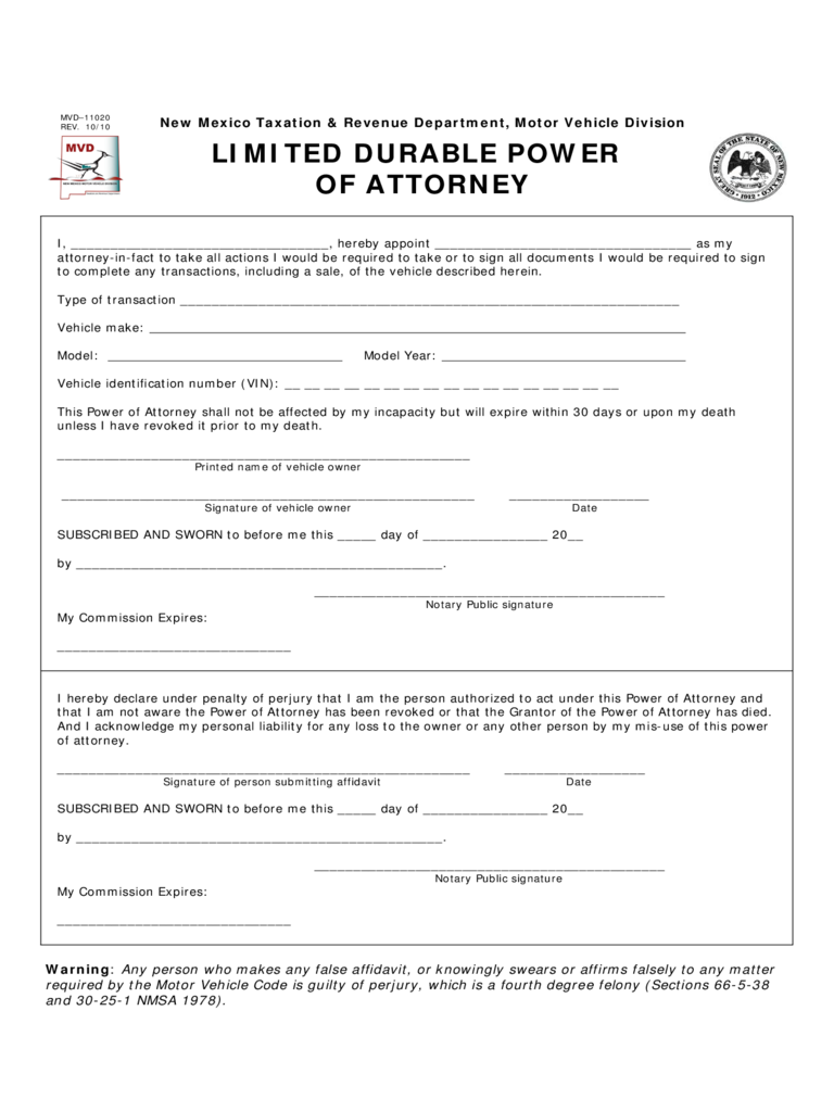 Limited Durable Power of Attorney - New Mexico Motor Vehicle Division